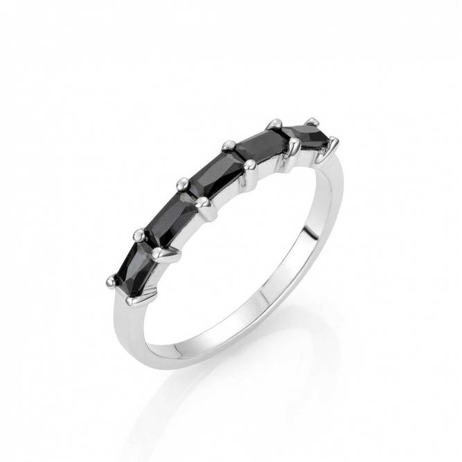 Bilde av Lina sølv ring med sorte