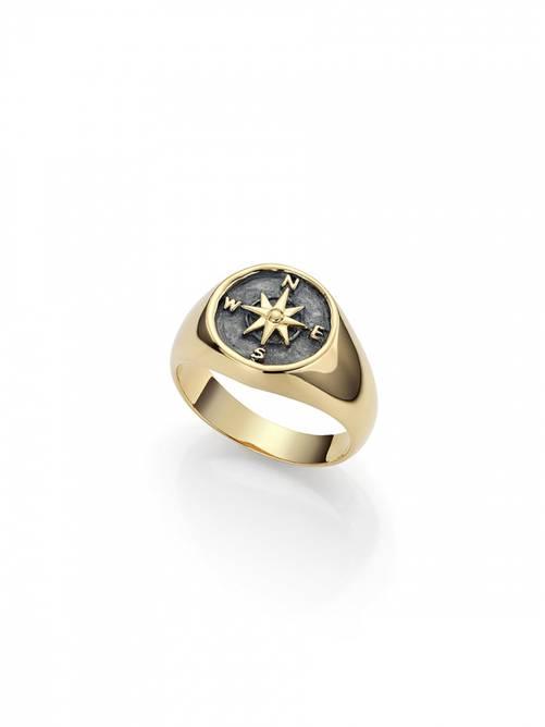 Bilde av Kompass ring i forgylt sølv